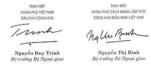 Tiếng Việt: Chữ ký của Bộ trưởng ngoại giao Vi...