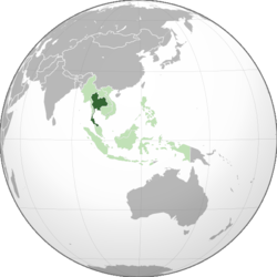 Location of Thailand (dark green) in ASEAN (light green) and Asia