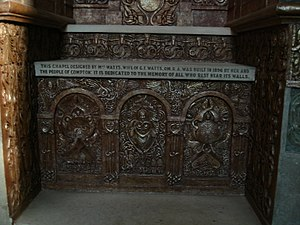 English: The altar in Watts Mortuary Chapel lo...