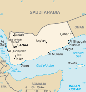 Map of Yemen, Saudi Arabia being north of it