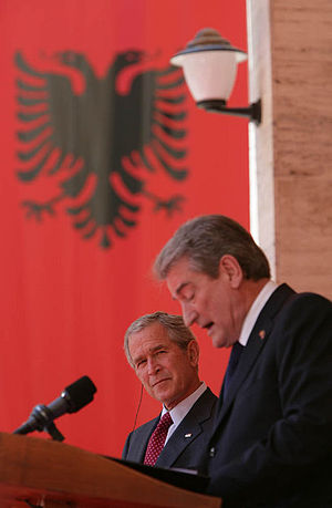 George W. Bush and Sali Berisha during a joint...