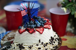 English: A chocolate cake during the 4th of July
