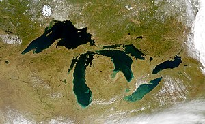 A satellite image of the Great Lakes.