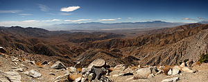 Panorama of the view south from Keys View in t...