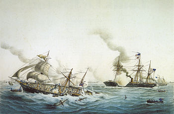 English: Fight of the CSS Alabama and the USS ...