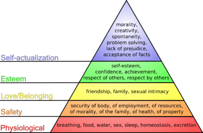 This diagram shows Maslow's hierarchy of needs, represented as a pyramid with the more primitive needs at the bottom.