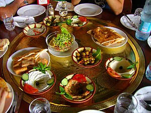 A large plate of Mezes (Metzes) in Petra, Jordan.