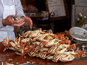 Dungeness crab ready to eat at Fisherman's Wha...