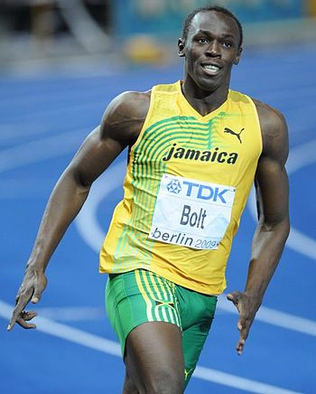 English: Usain Bolt at the World Championship ...