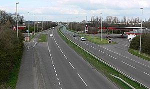 English: A563 Outer Ring Road in Braunstone. L...
