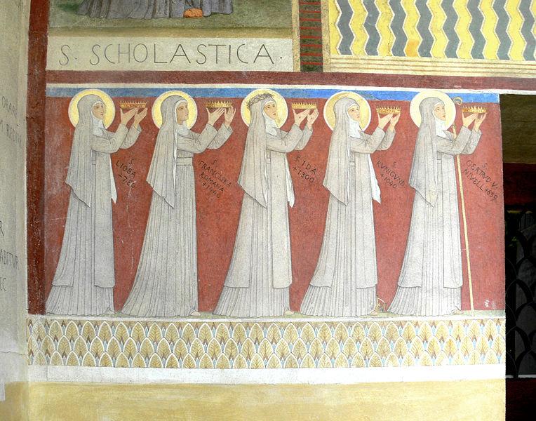 File:Beuron Mauruskapelle Fassadengemälde Ordensheilige links.jpg