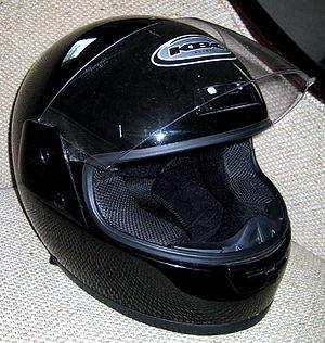 Full face motorcycle helmet.