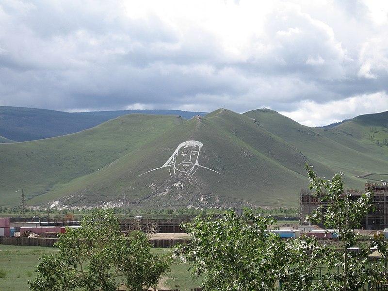 File:Chinggis Khan hillside portrait.JPG