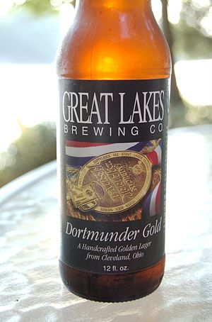English: A bottle of Dortmunder Gold pale lage...