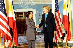 Secretary of State Hillary Clinton held a bila...