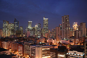 English: Makati CBD skyline at the start of dawn