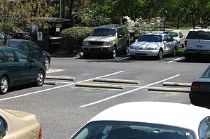 English: Photo of parking spaces in an America...