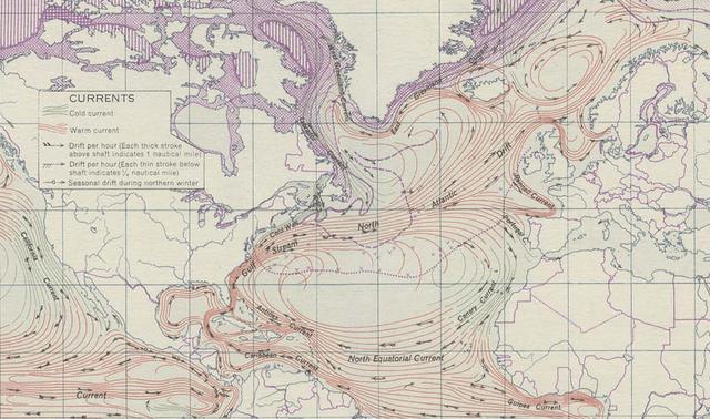 Mapa de la corriente del Golfo