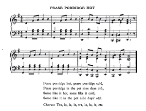 English: Music for Pease Porridge Hot.