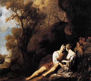 Peter Lely - Amorous Couple in a Landscape - W...