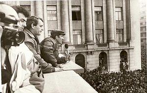 English: Mircea Diaconu speaking to the crowd ...
