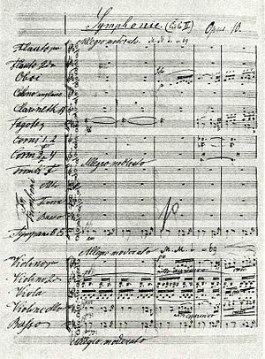 English: The first page of the score of Dvořák...