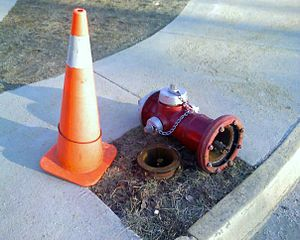 A Super Centurion fire hydrant that was hit by...
