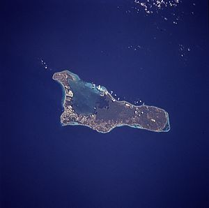 An enlargeable satellite image of Grand Cayman...