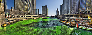 Chicago river dyed green on St. Patrick's Day,...