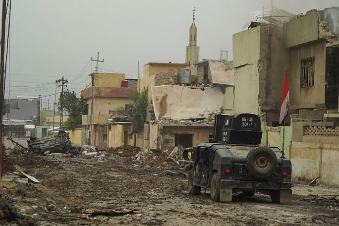 ISOF APC on the street of Mosul, Northern Iraq, Western Asia. 16 November, 2016