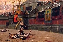 """Several dead men and various scattered weapons are located in a large arena. Near the center of the image is a man wearing armor standing in the middle of an arena looking up at a large crowd. The man has his right foot on the throat of an injured man who is reaching towards the crowd. Members of the crowd are indicating a """"thumbs down"""" gesture. The arena is adorned with marble, columns, flags, and statues."""