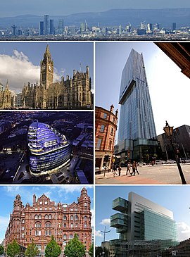 Manchester   Wikipedia Clockwise from top  City Centre  Beetham Tower  Manchester Civil Justice  Centre  Midland