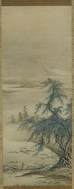 A hanging scroll painted by Kanō Masanobu. The...