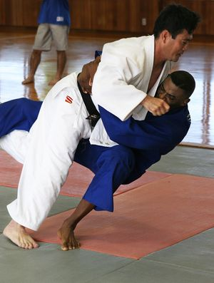 Judo demonstrated by a Japanese policeman and ...