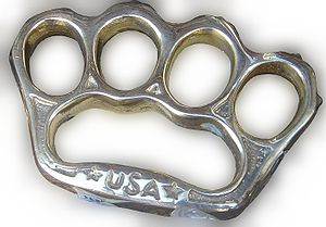 Brass knuckles, from the window display of the...