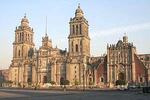 The Colonial Cathedral of Mexico City. Some of...