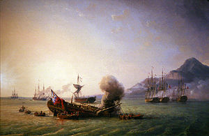 The British surrender in a naval battle. A ship in the distance on the far left lowers its flag. To the right another ship burns. In the foreground a badly damaged ship also burns and a fourth ship, also badly damaged is in the act of surrendering in the centre. Sailors leave the surrendering ships in small boats. On the right, four ships with French flags cluster near shore under the shadow of a large mountain.