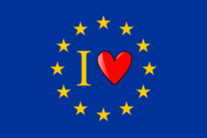 The Europe flag with a heart which means: &quo...
