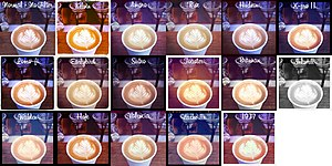 A collage of an image modified with 16 differe...