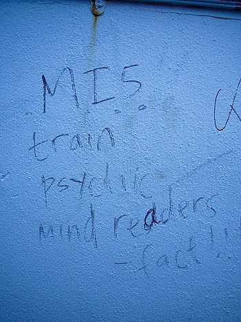 "English: Photo of graffiti: ""MI5 train ps..."