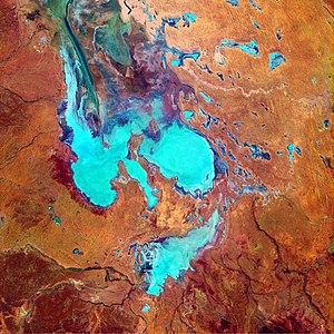 A false-colour satellite photo of Australia's ...