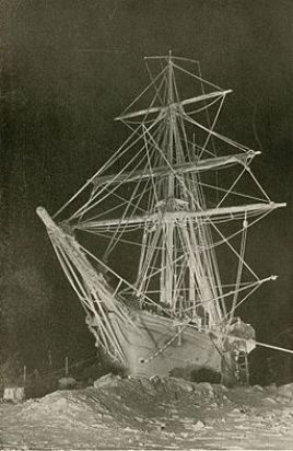 Sailing ship Endurance trapped and crushed by ice in the Antarctic, 1915 (exbt-ice-LongNight)