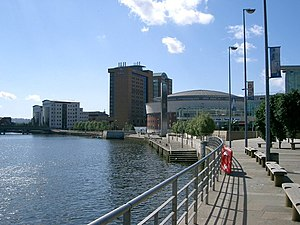 The Lagan. Where it flows past The Waterfront ...