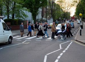 A zebra crossing in Abbey Road, London. This s...
