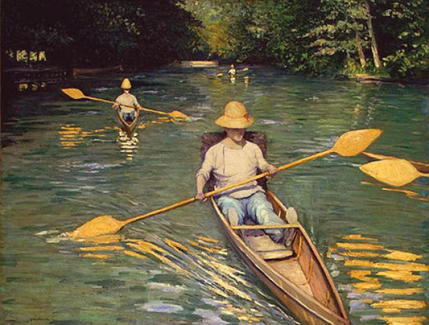 """""""Skiffs on the Yerres"""" by Gustave Caillebotte"""