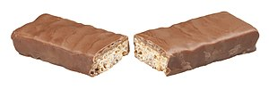 English: A Whatchamacallit candy bar, broken i...