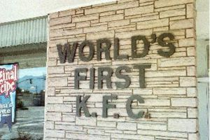 Sign showing the World's first KFC.