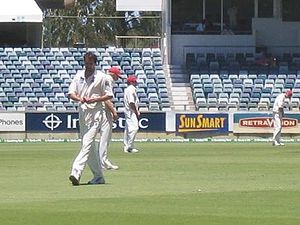 Jason Gillespie preparing to bowl for South Au...