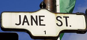 A sign for Jane Street in Toronto, Canada.