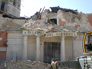 L'Aquila, Abruzzo, Italy. A goverment's office...